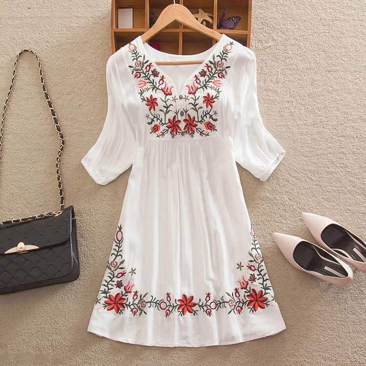 Women Mexican Embroidered Floral Peasant Blouse Vintage Ethnic Tunic Boho Hippie Clothes dressy tops 3XL(China (Mainland))