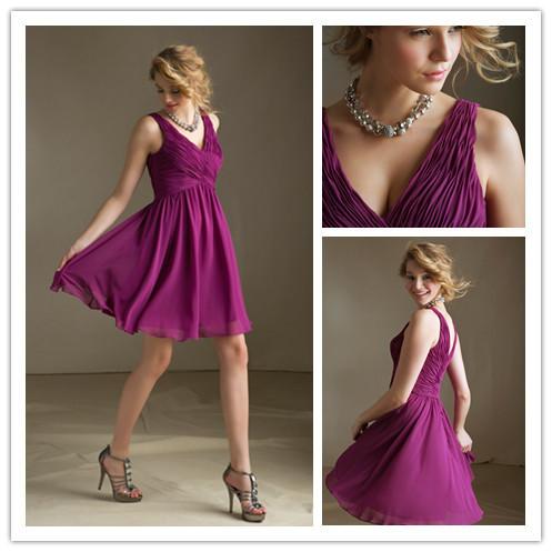 Bridesmaid dress v neck pleat spaghetti straps a line party dress knee