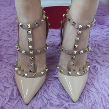 2016 New customized color 100+ rivet shoes women summer high quality pointed toes high heels shoes thin heels pumps size 33-42(China (Mainland))