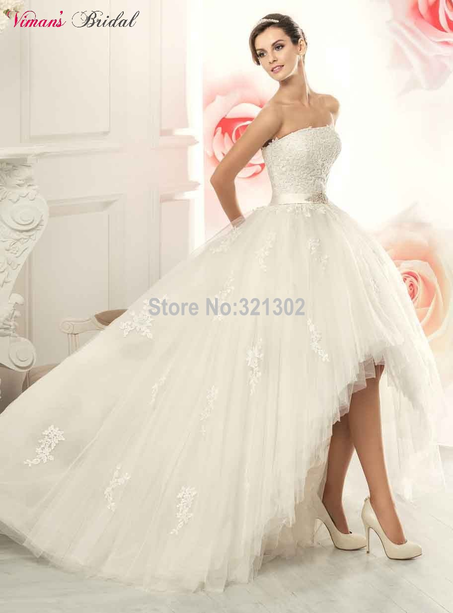 Tulle Lace Floor Length Strapless Sleeveless High Low Ball
