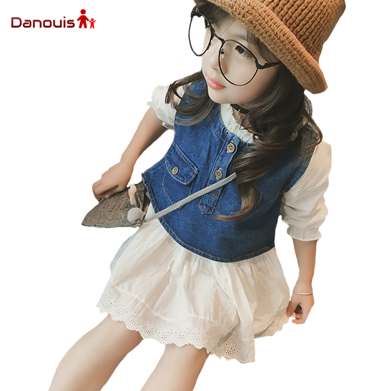 Girl Set 2017 New Spring Girls Cowboy Small Vest + White Dress Unlined Upper Garment Two Children Suit Kids Clothing Set(China (Mainland))