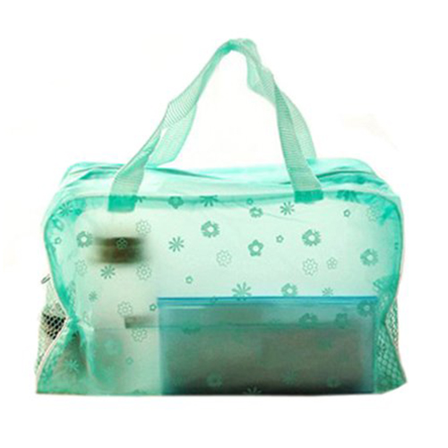 SAF-Floral Print Transparent Waterproof Cosmetic Bag Toiletry Bathing Pouch Green(China (Mainland))