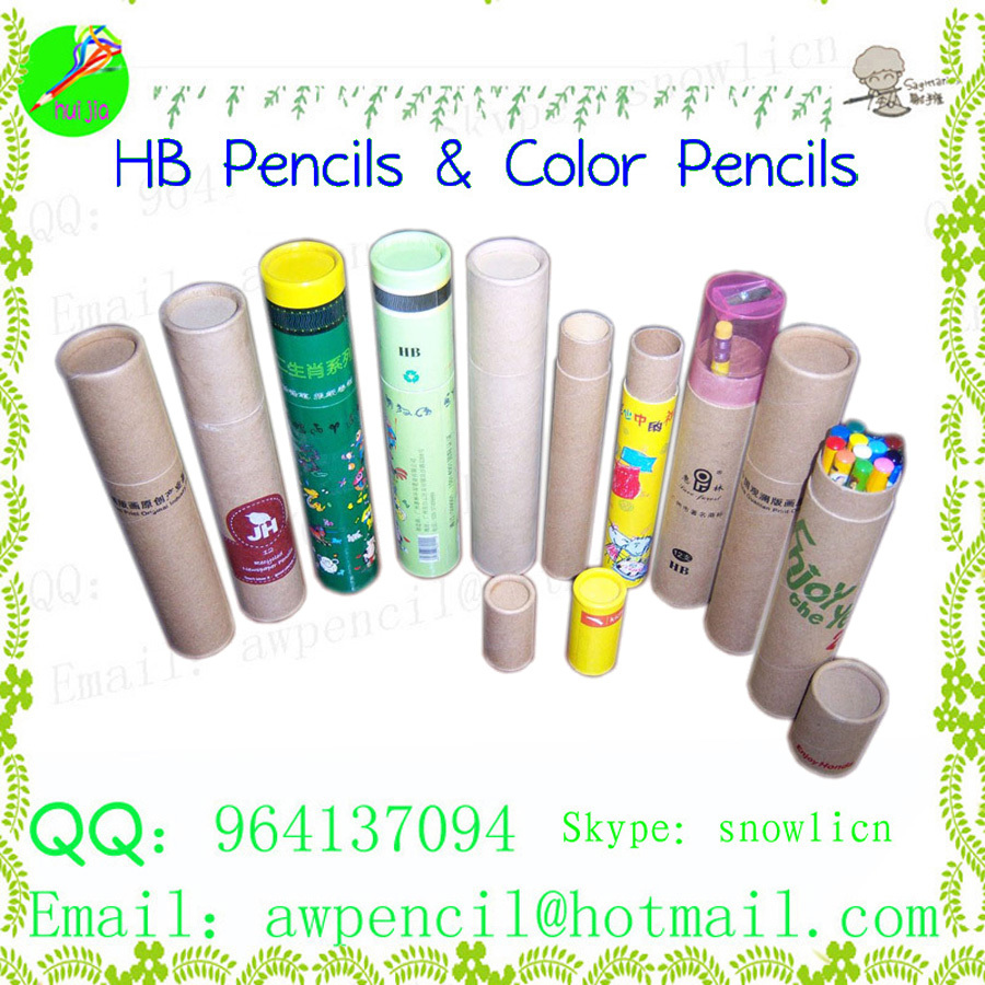 Customized printing for nature wood color pencils in paper cylinder box(China (Mainland))