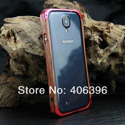 1pcs, Aluminum + Wood + Back Cover + Screen Protector Detachable Bumper For Samsung Galaxy SIV I9500(China (Mainland))
