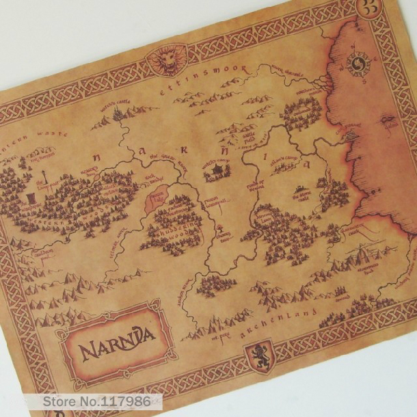 Poster the legend of Nani NARNIA treasure map old map decorative painting kraft paper painting Vintage posters(China (Mainland))