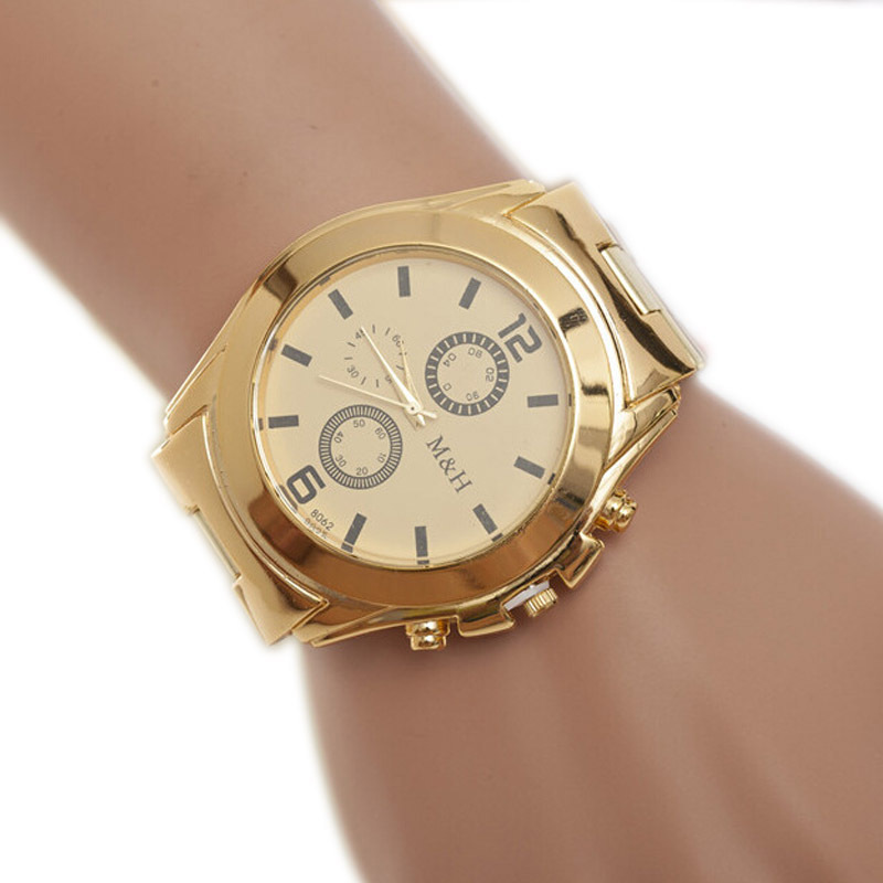 Gofuly Promotion Casual Watches Men Stainless Steel Sport Quartz Wrist Hour Gold Bracelet Big Dial Watch(China (Mainland))