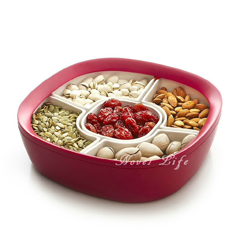 2015 Creative Multi Purpose Round Combined Fruit Bowl Plate Candy Snack Tray With Cover Red ABS(China (Mainland))