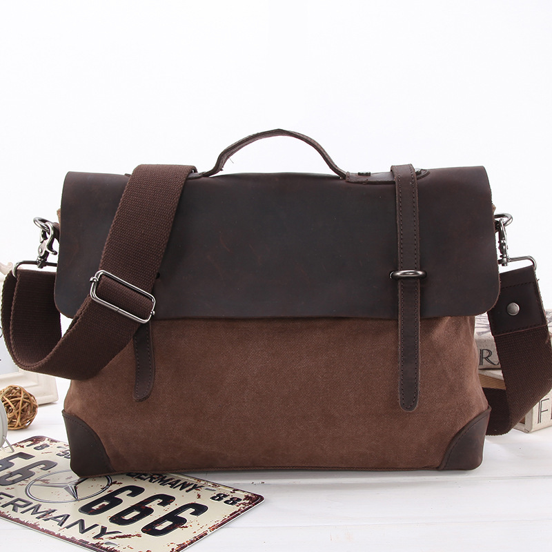 Men Bag 2015 Canvas Leather Satchel #239 casual canvas satchel men sling bag