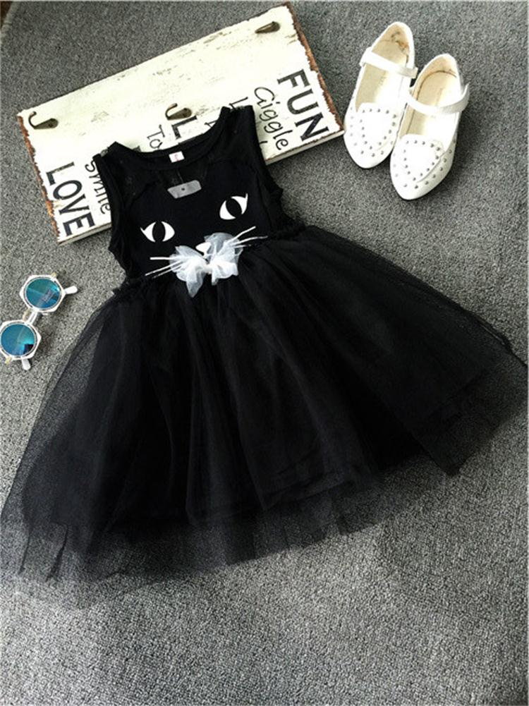 2015 New Sleeveless Summer Party Dress For Girls Baby Girls Kitty Dress Kids Cotton Children Clothing Christmas Party Costume(China (Mainland))