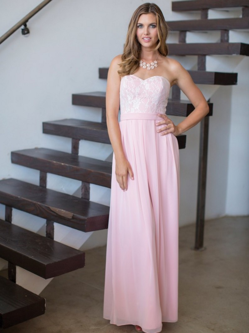 Light pink lace bridesmaid dress long chiffon strapless for Pink lace wedding dresses