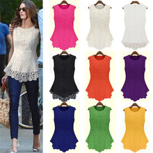 Free Shipping Women Summer Sleeveless Tank Tops Newest Ladies Sleeveless Embroidery Lace Tops Chiffon Hollow Out Fashionable Top(China (Mainland))