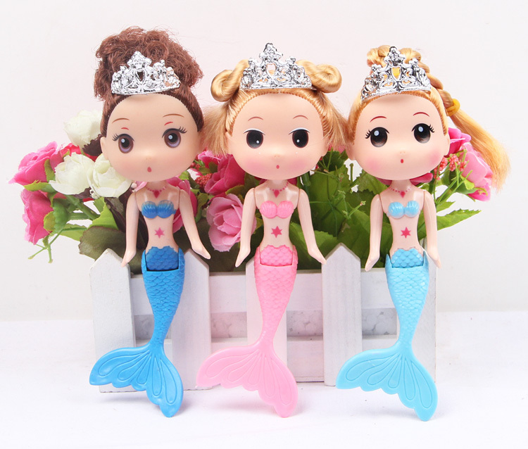 2pcs Can Swing Little Mermaid Tail Swimming Dolls Colorful Wig Household Act The Role Ofing Is