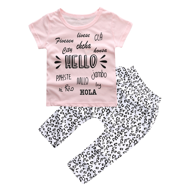 new summer baby girl clothes cotton short sleeve letter t-shirt+pants  2pcs