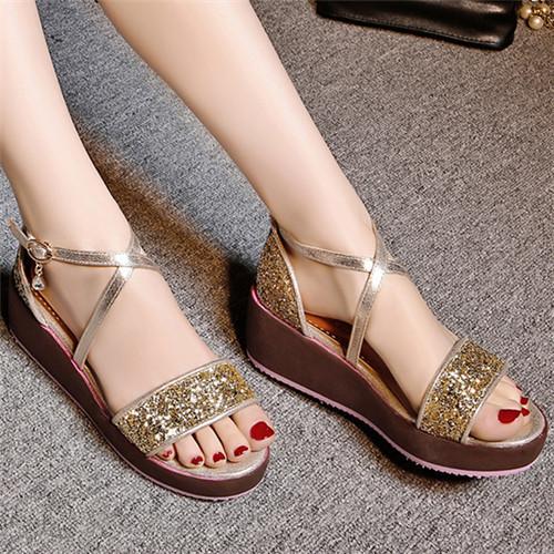 Большой размер 40 41 Bling женская сандалии летние открытым носком лодыжки ремень ...