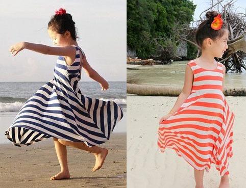 Pls buy any 2pc in shop 2015 summer child clothes girls maxi dress princess sleeveless stripe dresses children clothing beach(China (Mainland))