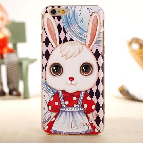 Cute Cartoon Rabbit Ultra Thin Case Cover For Apple iPhone 6 Case 3D 6 Series Maid Princess Case For Phone(China (Mainland))
