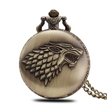 Hot Retro Nice Classical Bronze Vintage Chain Necklace Watch Animal Game of Thrones Stark Winterfell Wolf Locket Pocket Watches(China (Mainland))