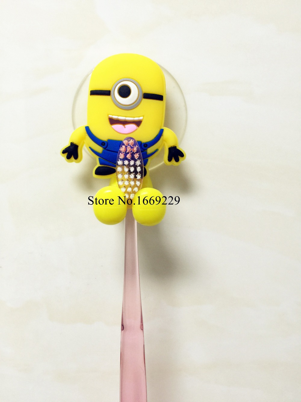 Cute minion Hello Kitty Cartoon suction cup toothbrush holder suction hooks bathroom set accessories(China (Mainland))