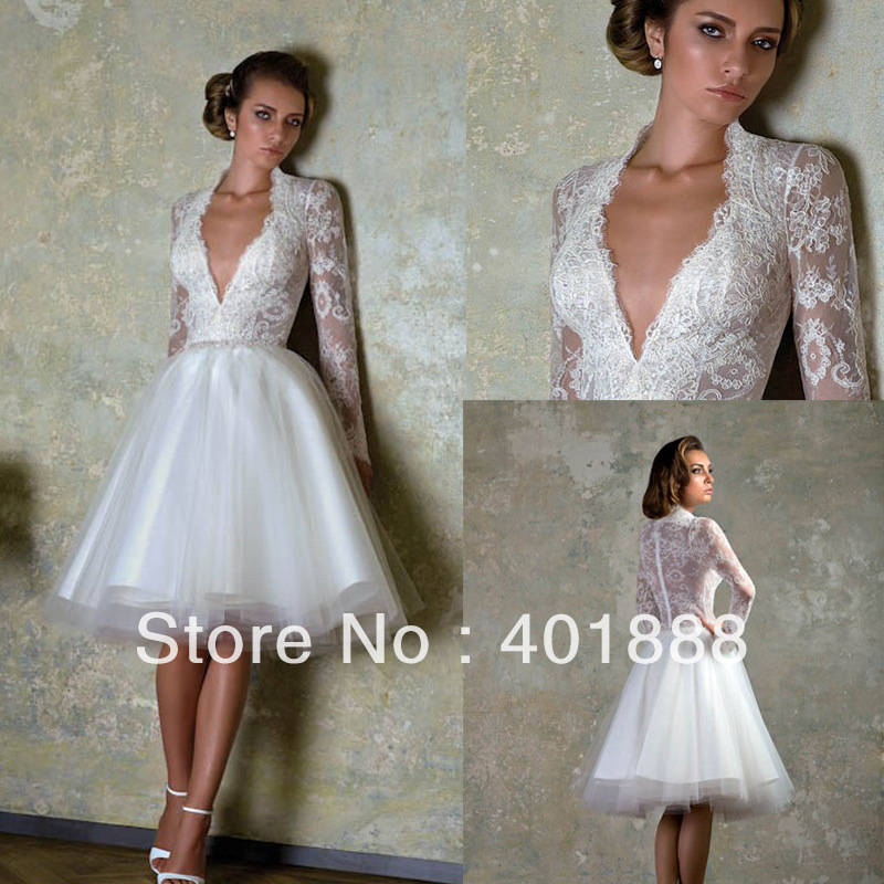Cheap White Knee Length V Neck Lace Long Sleeve Short Wedding Dress In Wedding Dresses From