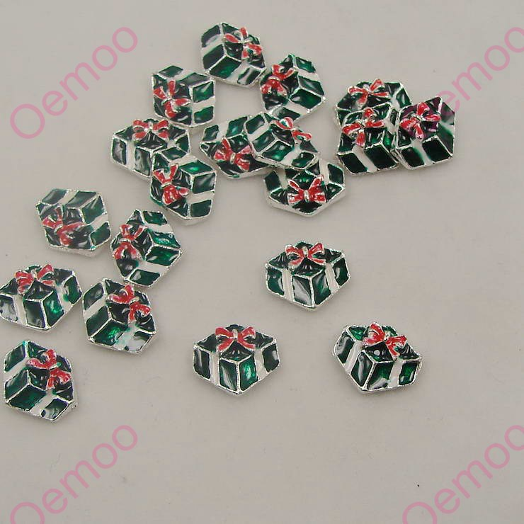 Factory price Nail Arts 20pcs10*12mm Silver Zinc Alloy nail decorations new arrive 3D Green gift box Free shipping deco nail252(China (Mainland))