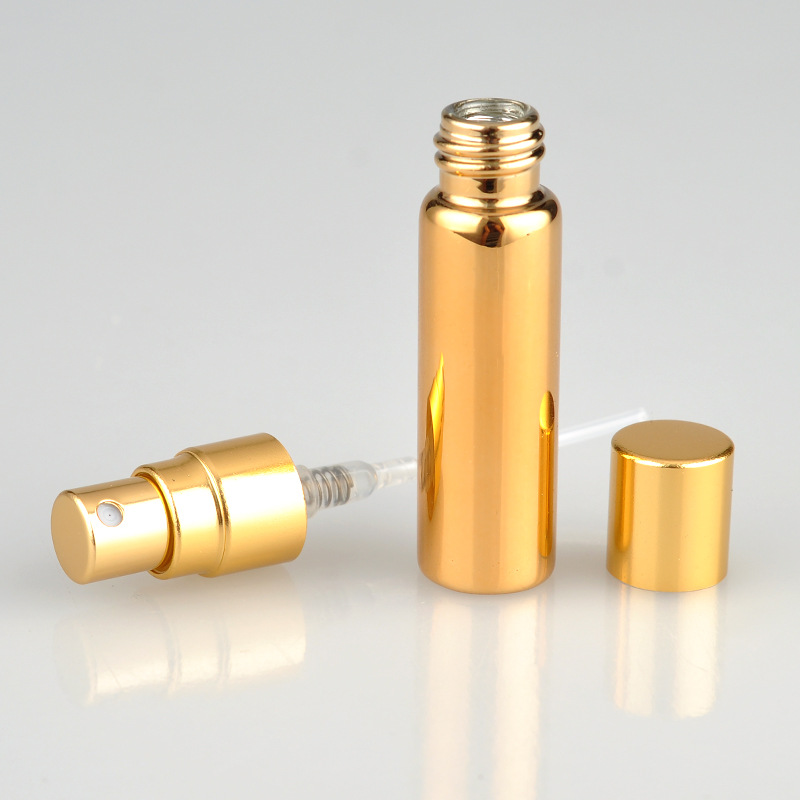 Spot supply 5ml anodized aluminum UV glass tube perfume Gold and silver refillable bottles Large quantity, more favorable price(China (Mainland))