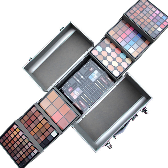 Miss Rose профессиональный макияж комплект Алюминиевая коробка с 5 styls кожи в том числе тени для век румяна платт макияж для Красоты MS060