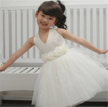 Girls dress white veil Children's wedding dress The flower girl dress Children's wedding dress
