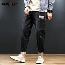 autumn Ankle-Length Jeans men straight tube loose retro harlan Blue Jean pocket skinny Pants homme Big Large size 42-44-46-48(China)