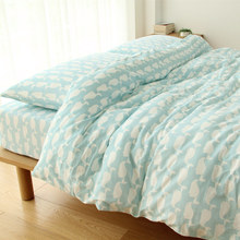 Left ear Japanese style small fresh small whales Tianzhu cotton cotton knitted cotton four piece bedding