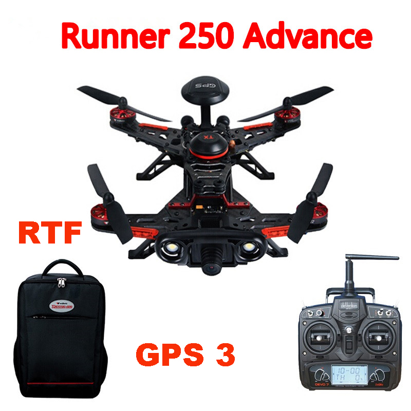 (In stock) Walkera Runner 250 Advance Runner 250(R) GPS System RC Quadcopter with DEVO 7 /OSD/Camera/Backpack RTF GPS 3 Version