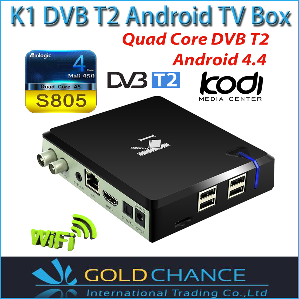 K1 Quad core android dvb t2 amlogic s805 1gb ram 8gb rom xbmc fully loaded projector home theater dvb-t2 K1 DVB T2 android tvbox(China (Mainland))