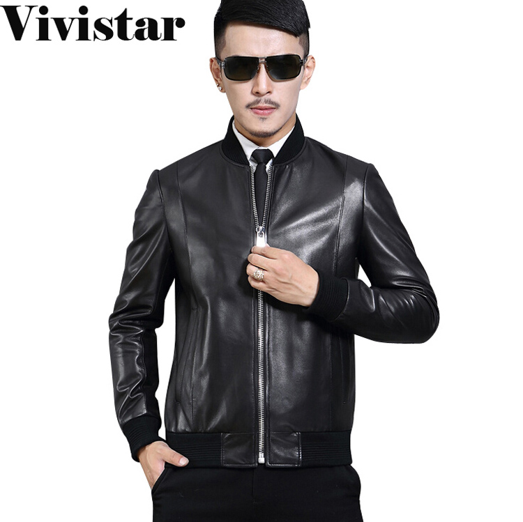Stand Collar Men Print Genuine Leather Jacket 2015 New Arrival Slim Fit Fashion Zipper Top Quality Fashion Casual Jacket F1673Одежда и ак�е��уары<br><br><br>Aliexpress