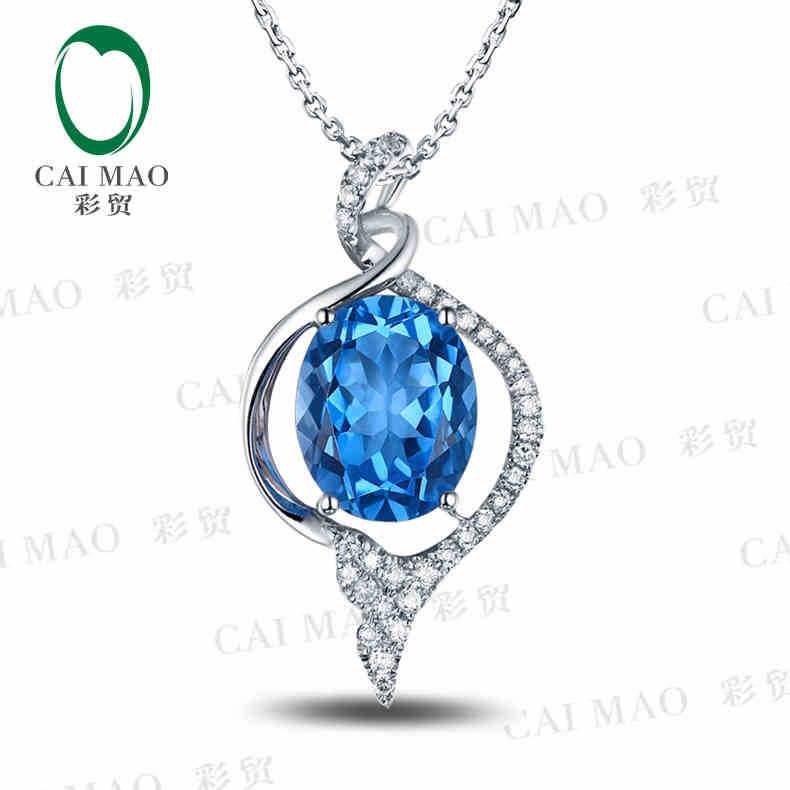 CaiMao 18KT/750 White Gold 3.09 ct Natural IF Blue Topaz &amp; 0.18 ct Full Cut Diamond Engagement Gemstone Pendant Jewelry<br><br>Aliexpress