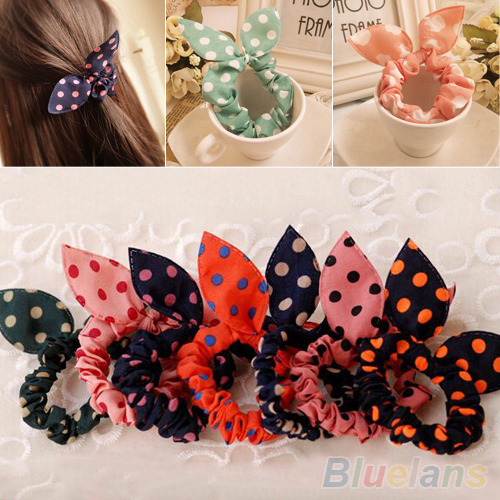 10Pcs Rabbit Ear Hair Tie Bands Accessories Japan Korean Style Ponytail Holder 2MWR 4PZ8(China (Mainland))
