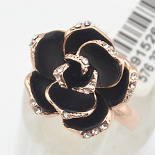 Italina Black Rose Flower Wedding Rings women Jewelry Gold plated Crystals female Anel Gifts Bijoux - USTAR .Jewelry Store store