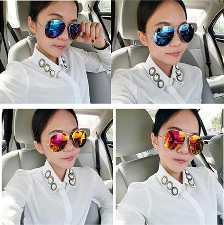 Free shipping new arrival women's fashion sunglasses UV protection popular&cool metal frame eyewear bat mirror(China (Mainland))