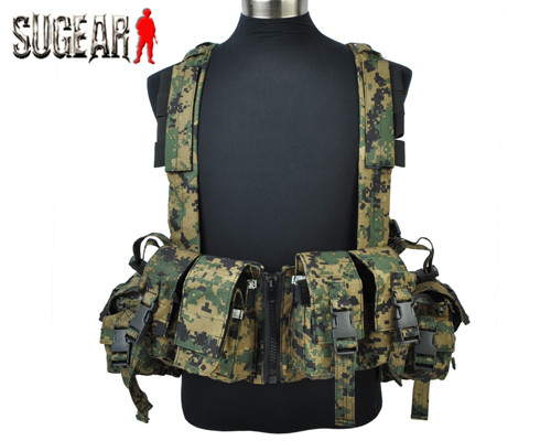 Airsoft Tactical 1961D Navy Seal Chest Rig Digital Woodland/Digi Desert Outdoor Military Combat Hunting Vest w/Magazine Pouch