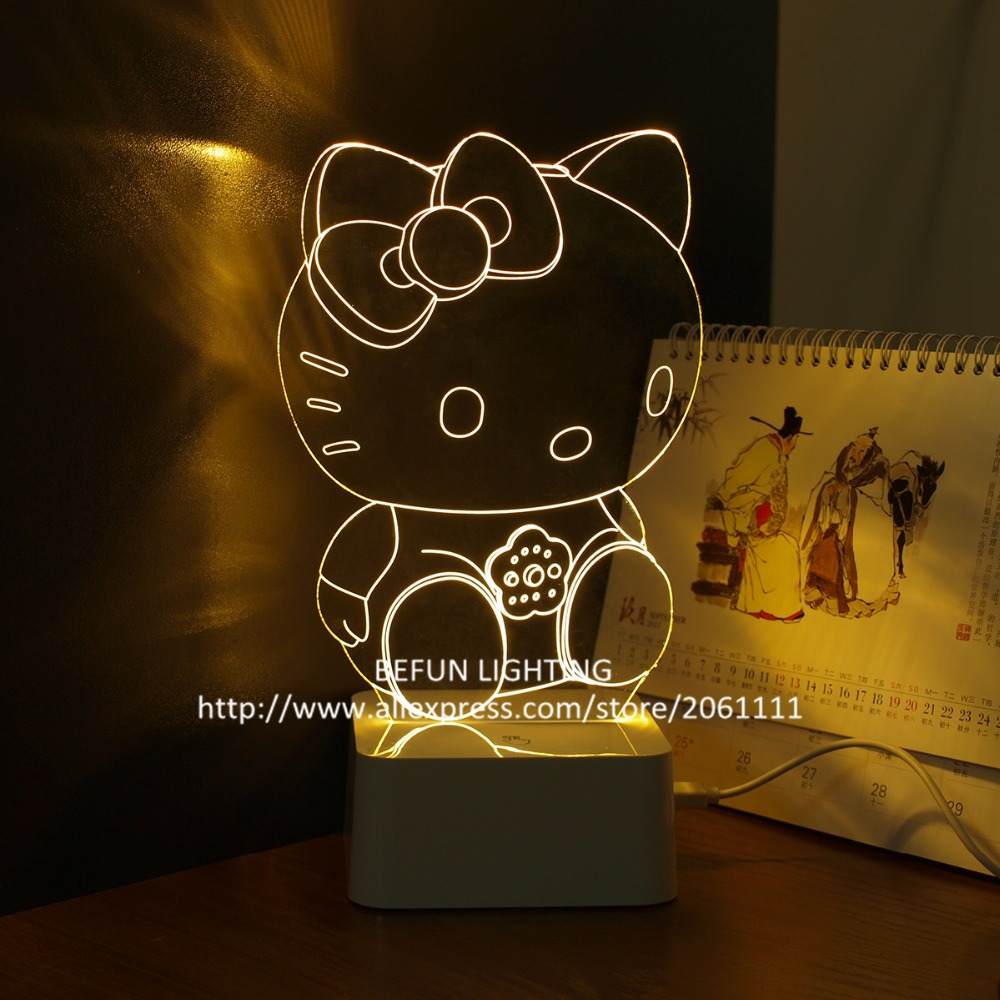 The best gift for children creative 3D atmosphere lamp decorating cartoon Hello Kitty kids night lights(China (Mainland))