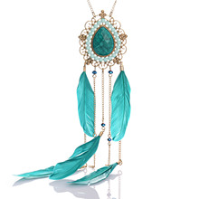 Vintage Bohemia Long Necklaces Crystal Beads Big Teardrop Stone Feather Necklaces for Women Costume Jewelry Feminina(China (Mainland))