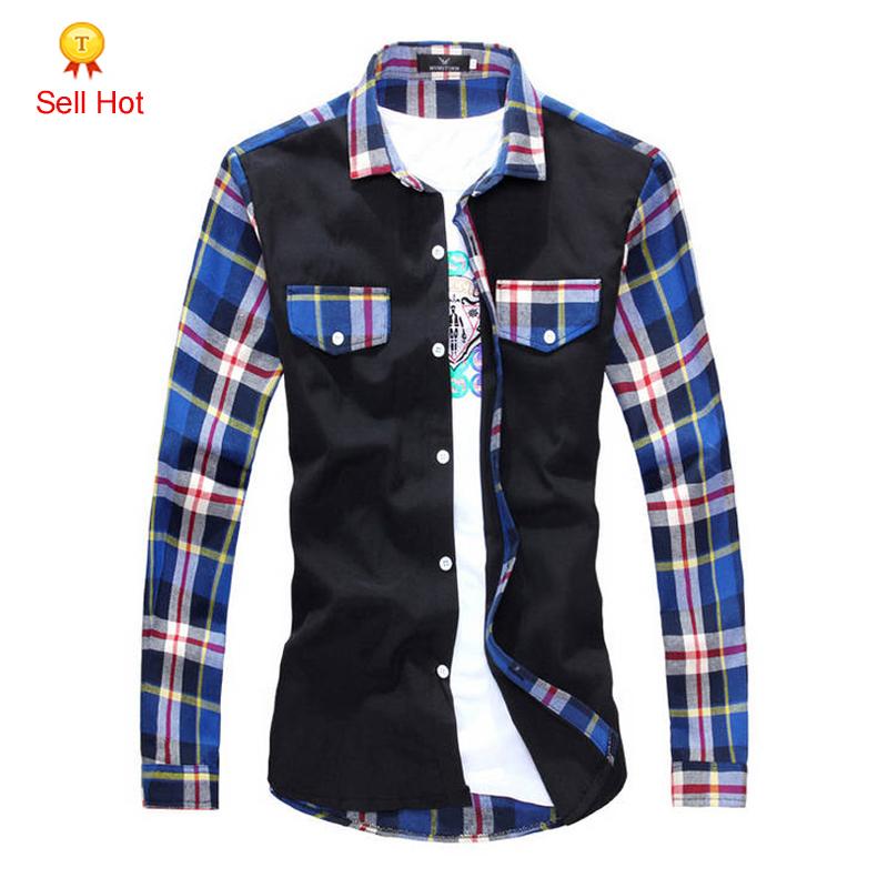 Men Shirt Plaid Social Long Sleeve Dress Shirts Fashio