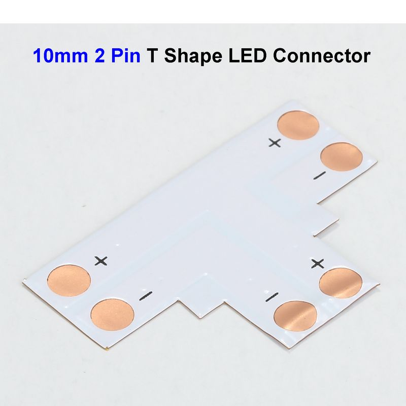 ( 500 pcs/lot ) 10mm 2 Pin 5050 LED Strip Connector Adapter T Shape For SMD 5050 5630 Single Color LED Strip No Soldering<br><br>Aliexpress