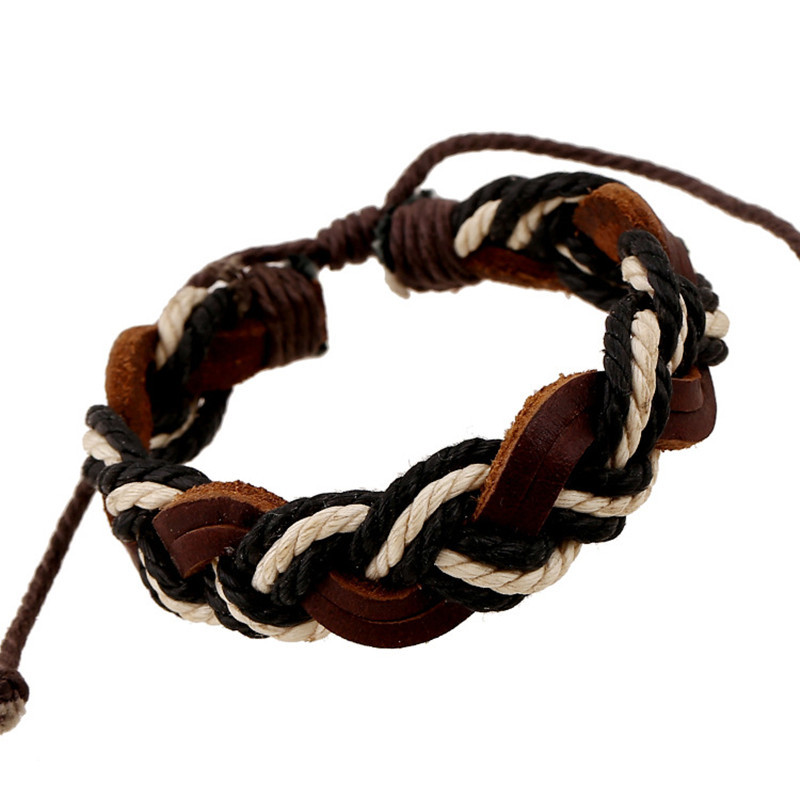 Retro Handmade Braided bracelet Men Brown Leather Bracelet Female Wristband Cuff Charm Jewelry Accessories(China (Mainland))