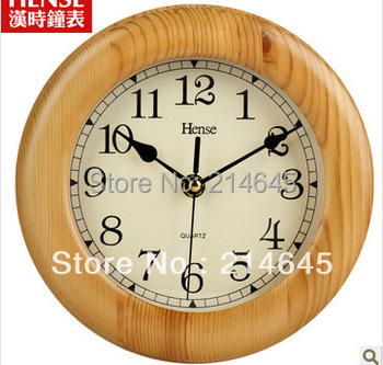 Free shipping, Mute 8 inches rural contracted solid wood wall clock fashion creative living room quartz clock