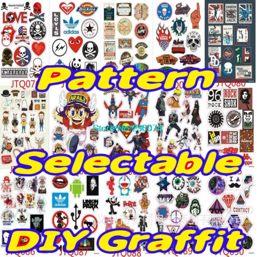 5 sheets A4 is a lot DIY Graffiti doodle sticker home decor motorcycle bike travel case decal accessories car stickers(China (Mainland))