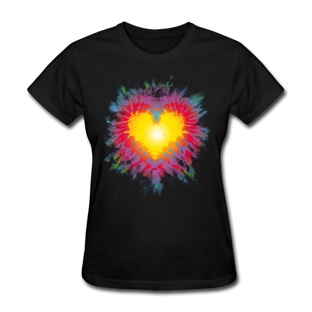 2014 Style Cotton T Shirt Women Tie Dye Heart Customize