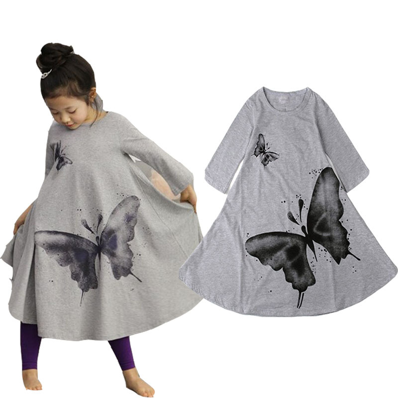 Autumn New Casual Baby Girl Dresses Girls Dress Butterfly Print Baby Dress Long Sleeve Kids Chilren