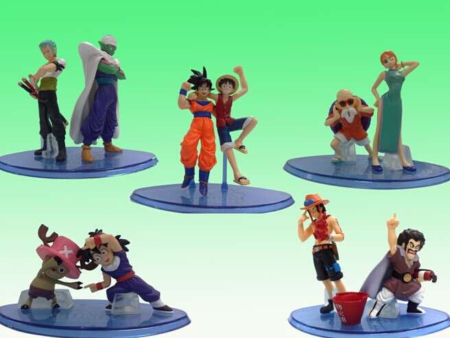 Cartoon Figure model toy doll wholesale 5 dragonball one piece roll-up children boutique gift collection(China (Mainland))