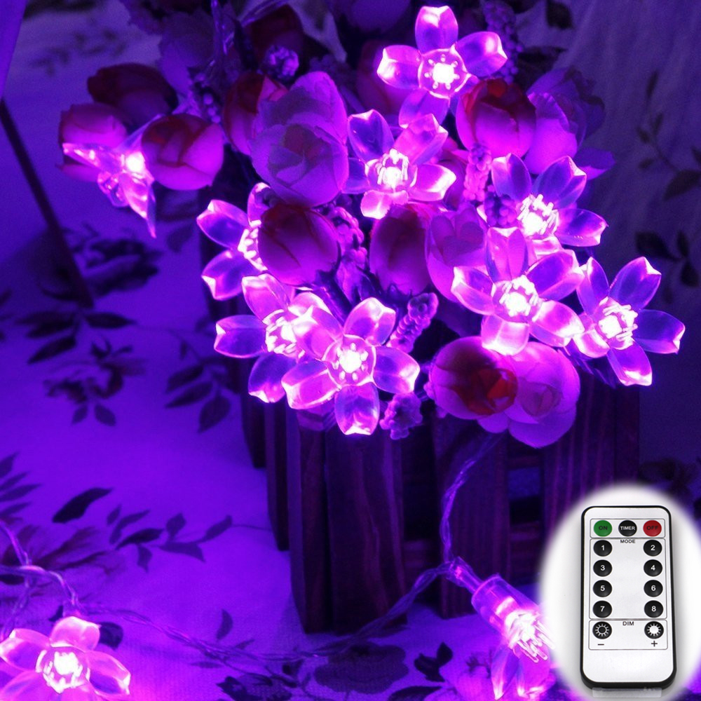 Remote Control Battery Powered 6M 60LED Cherry Blossom Christmas Led String lights 20Ft Peach Flower Garden Decoration(China (Mainland))