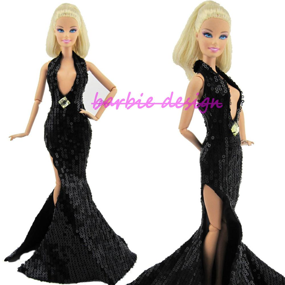 Explicit Trend Horny Black Paillette Costume Occasion Robe Authentic Princess Garments For Barbie Doll Finest Present 1C-062A-Y