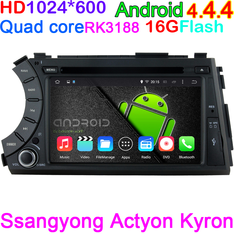 Capacitive Pixels 1024*6003 Ssangyong Actyon Kyron 2005-2013 Car DVD Player Android 4.4 Quad Core WIFI Radio GPS media Radio(China (Mainland))